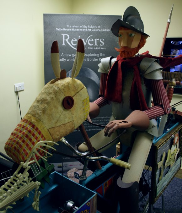 The Flying Reiver being set up at Tullie House Museum